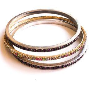 Set of three gemstone bangles